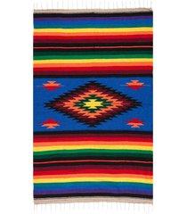 native yoga super diamond mexican blanket royal blue cotton