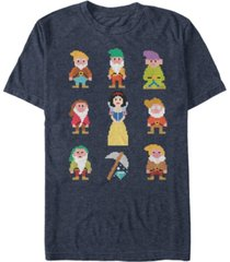 disney men's snow white pixelated dwarf crew short sleeve t-shirt