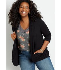 maurices plus size womens black 3/4 sleeve slouchy pocket cardigan