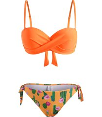cactus flower print tie side twisted three piece bikini swimwear