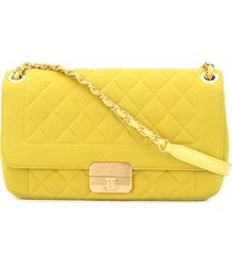 chanel pre-owned 2014 diamond quilt shoulder bag - yellow