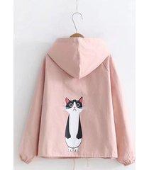 giacca a vento con cappuccio stampa gatto