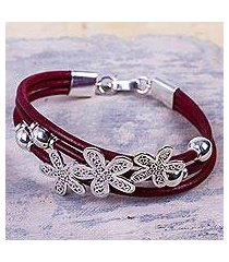 sterling silver and leather flower bracelet, 'burgundy flowers of rimac' (peru)