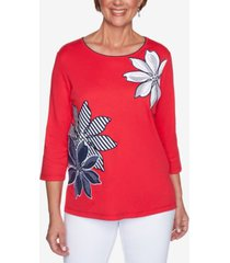 alfred dunner petite anchor's away exploded-floral applique top