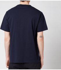 maison kitsuné men's tricolor fox patch classic pocket t-shirt - navy - m