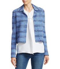 st. john women's spread collar tweed jacket - blue - size 12