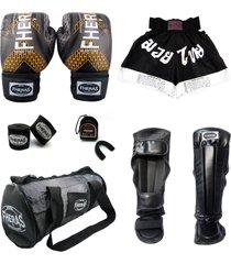 kit fheras + bandagem bucal caneleira shorts bolsa - 14 oz iron cobre - top .