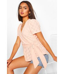 broderie anglaise wrap top, nude