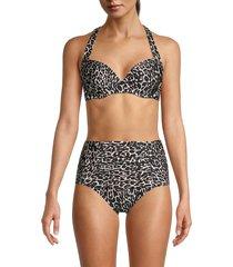 calvin klein women's leopard-print bikini top - black multicolor ikat - size l
