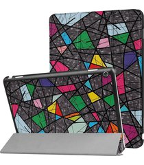 huawei mediapad m3 lite 10 color patrón de deformación poligonal de funda de cuero flip horizontal con tres plegable titular y sleep / wake up