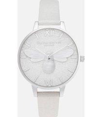olivia burton women's glitter dial demi pearl bee shimmer watch - pearl & silver