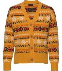d2. winter fairisle cardigan stickad tröja cardigan guld gant