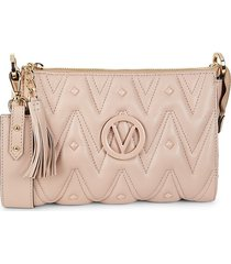 valentino by mario valentino women's mini marlene quilted leather shoulder bag - tan