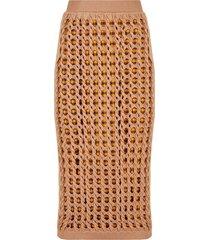 fendi open-knit fitted skirt - neutrals