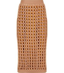 fendi open-knit fitted skirt - neutrals