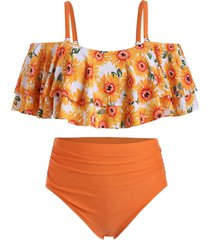 plus size sunflower print high rise tankini swimsuit