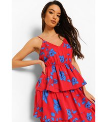 floral print tiered midaxi dress, red