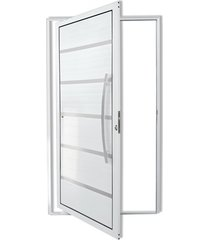 porta pivotante direita com lambri e puxador em alumínio premium 210x120cm branca