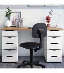 mesa para escritório due 10 gavetas nogal/branco - artany
