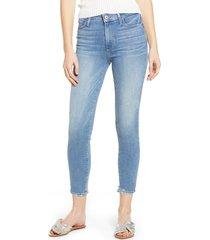 women's paige hoxton transcend vintage high waist crop skinny jeans, size 30 - blue