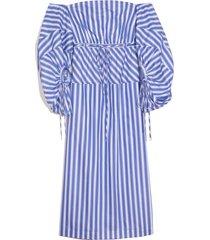 balloon sleeve cocktail dress in blue stripe
