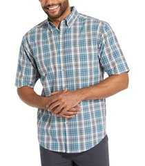 wolverine men's mortar short sleeve shirt stellar blue plaid, size xxl