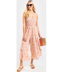 dani smocked floral jumpsuit - pink