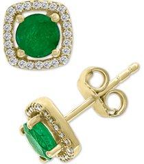 effy emerald (1 ct. t.w.) & diamond (1/8 ct. t.w.) stud earrings in 14k gold