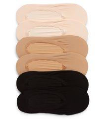 women's nordstrom assorted 6-pack scallop top liner socks, size 9/11 - pink