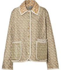 burberry monogram print quilted silk jacket - neutrals