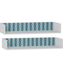 kit 02 nichos aã©reo maior lyam decor retrã´ branco estampa azul - azul - dafiti