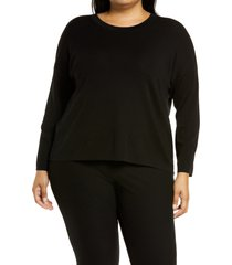 plus size women's eileen fisher boxy merino tunic sweater, size 1x - black