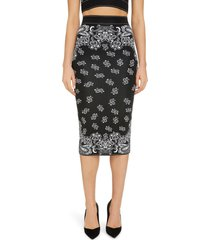 women's balmain paisley jacquard midi sweater skirt, size 14 us - black