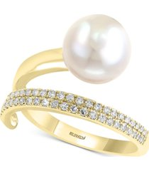 effy cultured freshwater pearl (10mm) & diamond (1/5 ct. t.w.) wrap ring in 14k gold