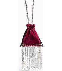 sparkle pink velvet diamanté pouch bag - pink