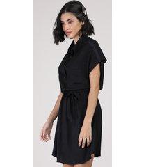 vestido chemise feminino curto com faixa para amarrar manga curta preto
