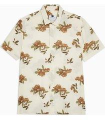 mens cream ecru blurred floral slim shirt