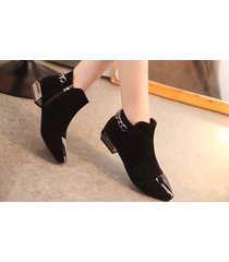 pb156 elegant pointy booties w plate and thick chain,  size 5-8.5, black