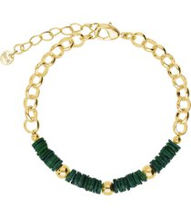 bracciale in ottone rodiato con elementi conchiglia verdi per donna