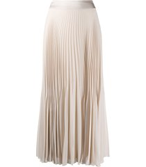 peserico pleated chiffon midi skirt - neutrals