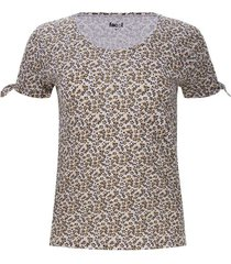 camiseta mujer print flores cafes color amarillo, talla 12