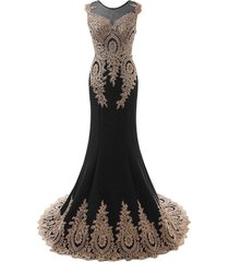 sheer gold lace long mermaid corset formal prom evening dresses plus size black