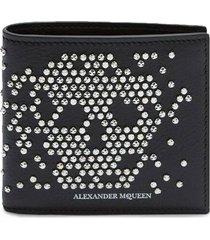men's alexander mcqueen skull studded leather bifold wallet - black