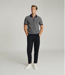 reiss daxton - jacquard zip neck polo shirt in navy, mens, size xxl