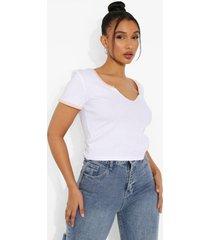 contrasterend t-shirt met halsinkeping, peach