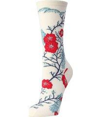 natori plum blossom crew socks, women's, white, cotton natori