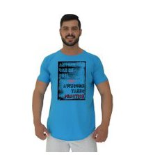 camiseta longline alto conceito anyone can be cool azul piscina