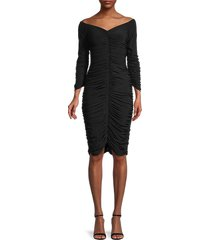 norma kamali women's off-the-shoulder ruched dress - black - size xxs