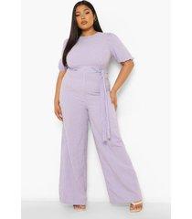 plus gingham wide leg jumpsuit met ceintuur, lilac