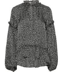 vivre blouse aop 12887 blouse lange mouwen zwart samsøe & samsøe